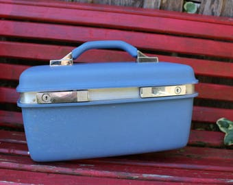 Vintage Blue Samsonite Monticello Train Case/Overnight Suitcase