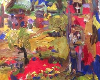Peinture expressionniste abstraite avec des couleurs vives et colorées par Russ Potak
