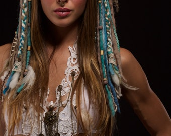 Turquoise and Beige Tribal Feather Headdress