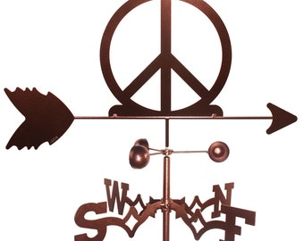 Hand Made Woodstock Peace Sign Symbol Weathervane NEW