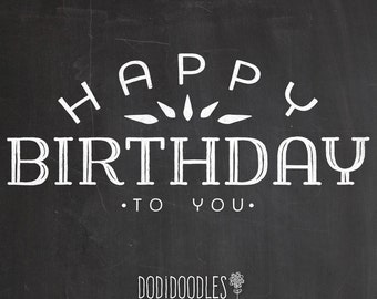 Chalk Overlay Happy Birthday Clipart Typography Clip Art Graphics