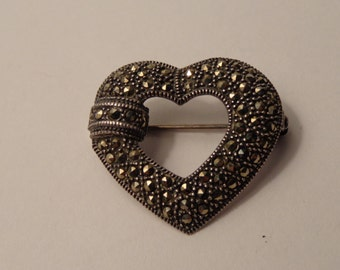 Sterling Silver and Marcasite Heart Pin/Brooch