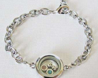 mini round glass locket bracelet