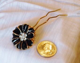 Black Flower Long Hair Comb or Hair Fork, Bun Comb