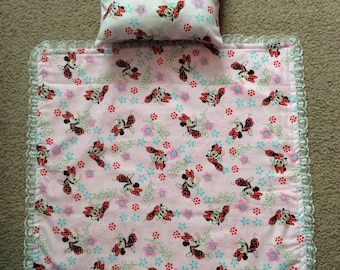 Doll blanket and matching pillow -Fits up to 18in dolls such as American Girl and many more