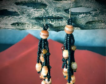 Orange Banded Agate and Glass Bead Earrings
