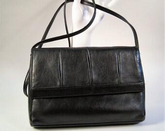 e035fe26f74a Little Black Bag   Basic Black Vintage Leather Bag   Soft Leather Shoulder  Bag