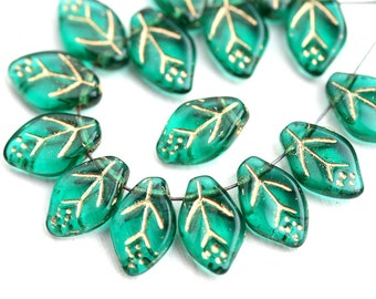 12x7mm Leaf beads, Emerald Green Golden Inlays, Czech glass pressed leaves - 25Pc - 1530