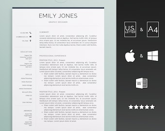 Resume template for Word, Instant download CV template - Creative design with cover letter, icons and multiple pages - easy edit