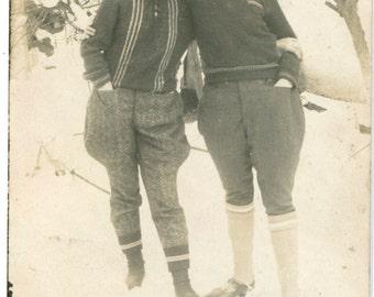 Old funny snapshot of two Bulgarian boys men skiing costumes 1920's vintage fashion style winter sports ORIGINAL vintage photo