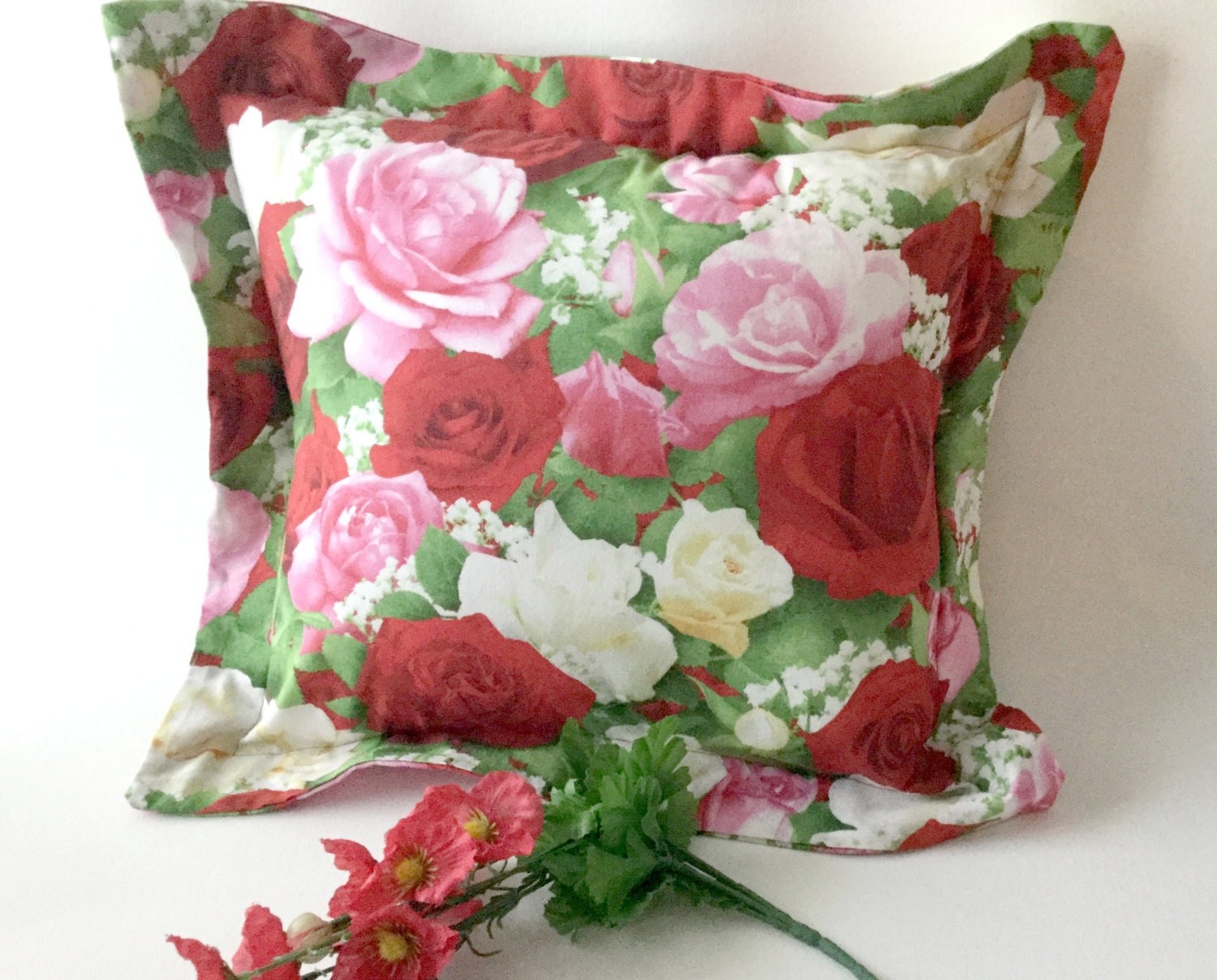 Roses Pillow Pink And Red Roses Rose Accent Pillow Bedroom