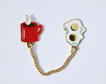 Collar pins breakfast eggs and coffee lapel pins with a chain funny brooch