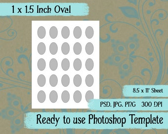 Scrapbook Digital Collage Photoshop Template, 1 x 1 1/2 Inch Oval