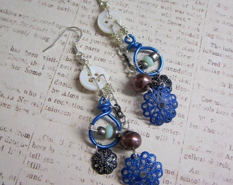 Repurposed Button Beaded Charm Earrings