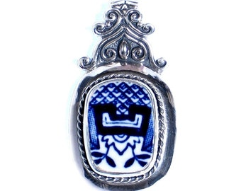 Blue Willow Crest - Broken China Jewelry - Sterling Silver Pendant
