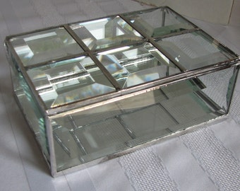 Clear beveled glass box to keep and display your keepsakes, 4 x 6 x 2 inches