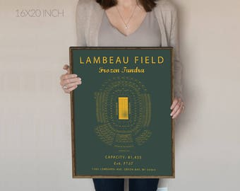 Lambeau Field Seating Chart, Green Bay Packers, Lambeau Field Sign, Lambeau Field poster, Lambeau Field Prints. Gift for Packers Fan Vintage