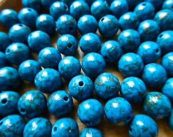 Veined Gold 8mm, set of 10 beads turquoise bead
