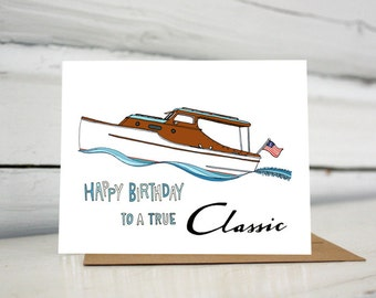 Chris Craft Boat Birthday greeting card