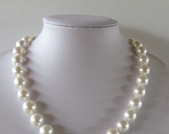 """Handmade knotted  faux Pearl necklace - Creamy white beads - Length  47 cm / 18.5 """" - Diameter  12 mm- Mother's Day"""