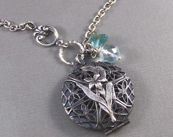 Calliope,Silver Locket,Locket,Antique Locket,Filigree,Silver,Scent,Aquamarine,Quartz,Iris. Handmade jewelery by valleygirldesigns on Etsy.