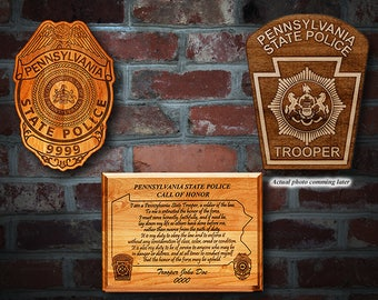 Personalized Pennsylvania State Police Badge Plaque