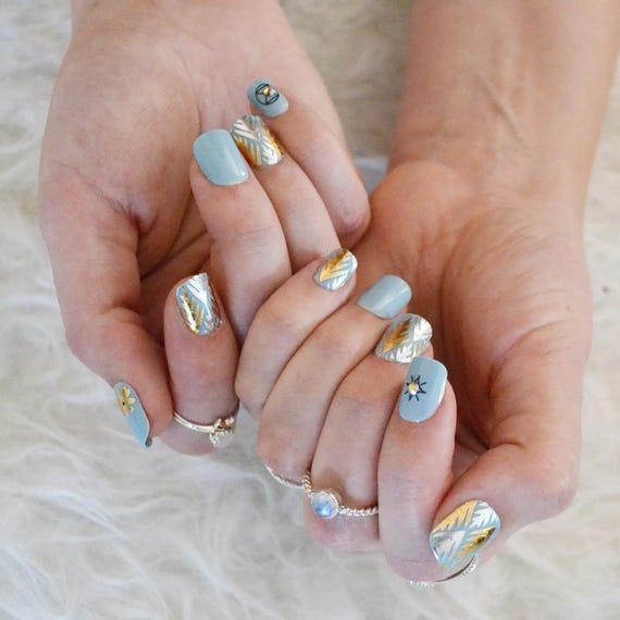 Boho Nail Art Set 10 sheets of metallic foil bohemian nail
