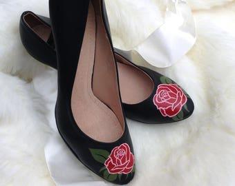 Handpainted heels (roses)