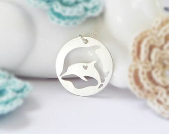 Dolphin Necklace, Sterling Silver