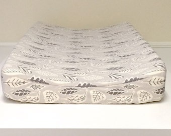 Baby Changing Pad Cover - Leaflet Dawn - Grey, Taupe, Off-White, Baby Changer, Diaper Changer Pad