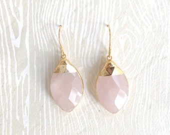 Pink Blush Earrings Rose Quartz Earrings Gifts for Bridesmaids Jewelry Gift Sister in Law Gifts Bff Gifts for Women Marquis Janna Conner