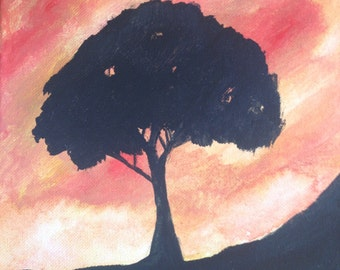 Fire Sky acrylic painting, fantasy sky painting, 8x8 stretched canvas