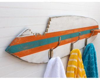Surfboard Towel Hook Shark Bite Wooden Surfboard Towel Rack Beach House Entryway Hook