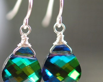 Bridesmaid Earrings, Peacock Swarovski Crystal Wire, 6 Pair, Aqua Sphinx Wrapped on Sterling Silver French Ear Wires