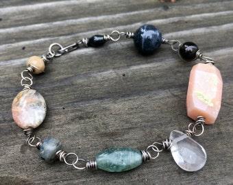 Gratitude bracelet OOAK mala jewelry gemstones and silver