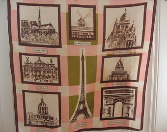 Paris France Scarf. Parisian lover famous places; Eiffel Tower, Moulin Rouge, Notre Dame. Green pink & brown. Original French fashion gift.
