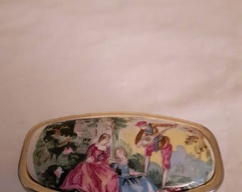 Vintage Lipstick Holder with Mirror in Gold Tone-Marked Japan-Classic Courting Couple Scene-1960s-Wedding/Anniversary/Birthday/Mother's Day