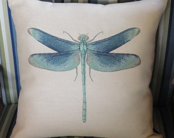 Dragonfly Pillow Cover // Home Decor // 20x20 // Throw Pillow Cover // ONLY ONE LEFT
