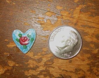 Vintage Guilloche Rose Heart Dresden Enamel Turquoise Blue