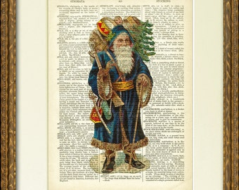 Victorian SANTA WITH TOYS 01 Dictionary Page Print - a charming old Santa illustration on an antique dictionary page - Happy Holiday decor!
