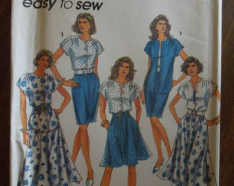 Simplicity 7901, sizes 12-18, flared skirt, slim skirt, top, UNCUT sewing pattern, craft supplies, misses, womens