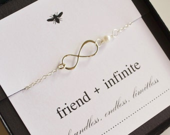 Sterling Silver Infinity Friendship Necklace with Freshwater Pearl....Friend, Best Friend, Sister
