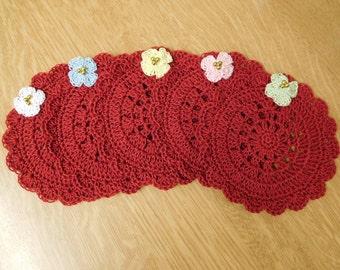 Free shipping, set of 5coasters, crochet coasters, red coasters,red crochet coasters, set of 5crochet coasters, set of 5red coasters