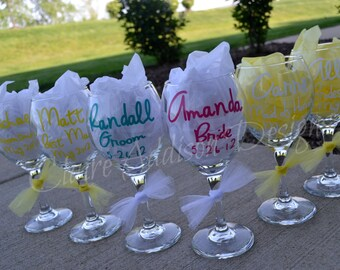 Personalized Wine Glasses - Bridesmaid - Wedding - Bachelorette