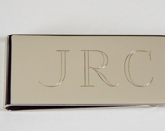 Custom Engraved Silver Money Clip Personalized High Polish Non Tarnish Nickel Plated  - Hand Engraved