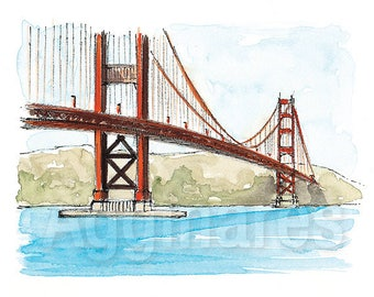 San Francisco Golden Gate Bridge USA / art print from an original watercolor painting