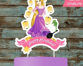 Rapunzel Cake Topper, Rapunzel Centerpiece, Tangled Centerpiece, Tangled Cake Topper, Rapunzel Tangled Printable Party Decorations