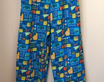 pajama bottoms, lounge pants men's sports print cotton flannel handmade elastic waist size medium blue sports lover gift ready to ship