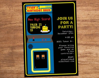 Arcade Video Game Party Invitation