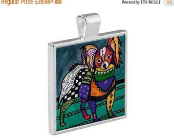 SALE ENDING- Papillon Dog Jewelry - Pendant Metal  Gift Art Heather Galler Vegan Dog Animal Lovers